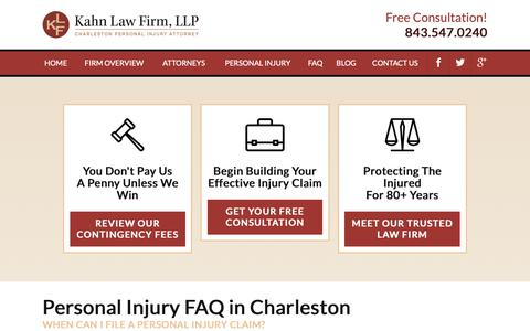 Screenshot of FAQ Page kahnlawfirm.com - Personal Injury FAQs | Charleston Injury Lawyer - captured Oct. 14, 2018