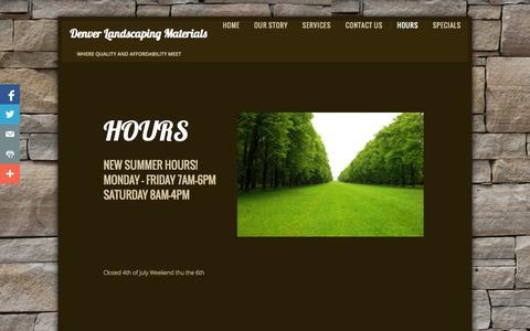 Screenshot of Hours Page denverlandscapingmaterial.com - Hours - captured Oct. 5, 2014