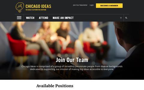 Screenshot of Jobs Page chicagoideas.com - Chicago Ideas Week - captured Nov. 5, 2016