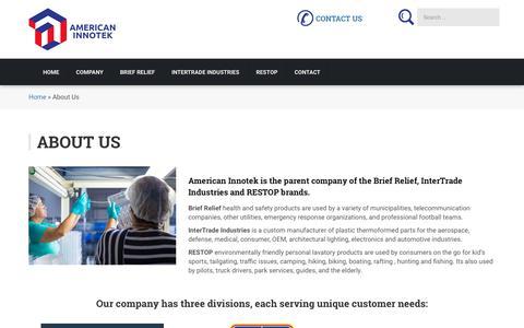 Screenshot of About Page americaninnotek.com - About Us – American Innotek - captured Oct. 8, 2017