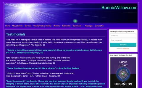 Screenshot of Testimonials Page bonniewillow.com - Testimonials - BonnieWillow.com - captured April 7, 2016