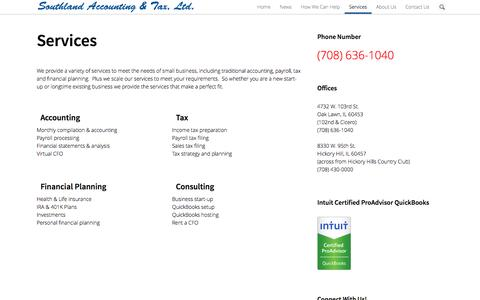 Screenshot of Services Page southland-tax.com - Services | Southland Accounting & Tax - captured Oct. 7, 2014