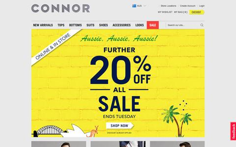 Screenshot of Home Page connor.com.au - Connor | Mens Clothing Online & Accessories | Connor Australia - captured Jan. 21, 2016