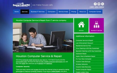 Screenshot of Services Page sugarlandpc.com - Computer Service & Repair at SugarLandPC - captured Dec. 17, 2016