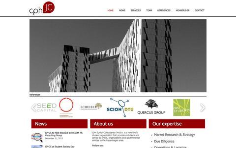 Screenshot of Home Page cphjc.dk - Junior Consulting | CPHJC | Copenhagen - captured Oct. 1, 2014