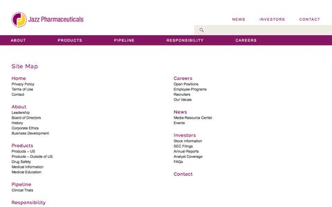 Screenshot of Site Map Page jazzpharma.com - Site Map | Jazz Pharmaceuticals - captured Nov. 26, 2016