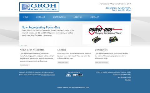 Screenshot of Home Page grohassoc.com - Groh Associates - Electronic Manufacturers' Representatives - captured Oct. 3, 2014