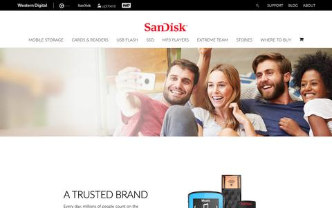 Screenshot of About Page sandisk.com - About SanDisk - Expanding the Possibilities of Storage - captured Nov. 15, 2018