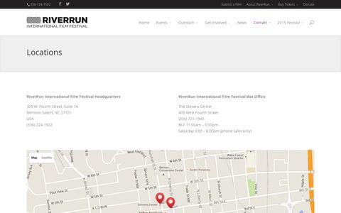 Screenshot of Locations Page riverrunfilm.com - Locations | RiverRun International Film Festival - captured Feb. 17, 2016