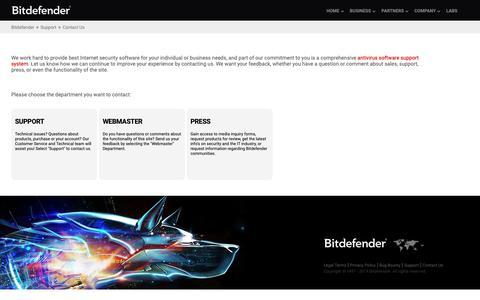 Screenshot of Contact Page bitdefender.co.uk - Contact Us - captured June 4, 2019