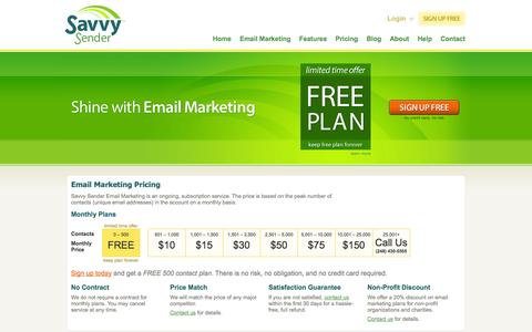 Screenshot of Pricing Page savvysender.com - Email Marketing Pricing – Savvy Sender - captured Sept. 30, 2014