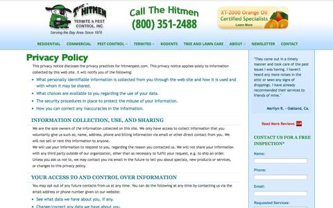 Screenshot of Privacy Page hitmenpest.com - Residential Pest Control Experts | The Hitmen Termite & Pest Control - captured Sept. 23, 2014