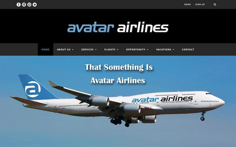 Screenshot of Home Page avatarairlines.com - Avatar Airlines - captured Oct. 4, 2014