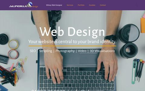Screenshot of Home Page alperia.com - Witney web designer: CMS, ecommerce, photography, 3D & video | Alperia - captured Oct. 8, 2017
