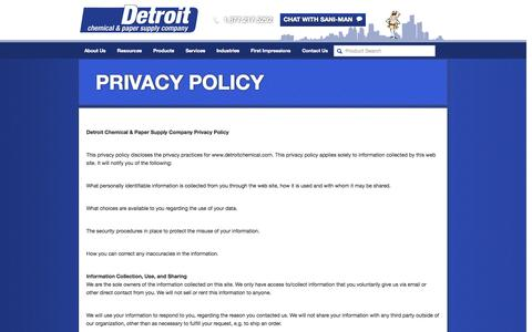 Screenshot of Privacy Page detroitchemical.com - Privacy Policy | Detroit Chemical - captured Oct. 5, 2014