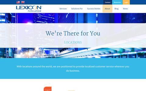 Screenshot of Locations Page lexiconrelocation.com - Global Reach   Lexicon Relocation - captured Dec. 9, 2015