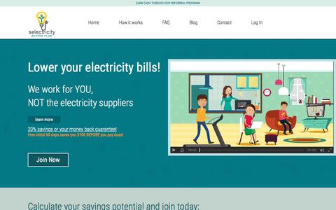 Screenshot of Home Page selectricitybc.com - Selectricity Buyers Club | The POWER of group membership! - captured Dec. 3, 2016