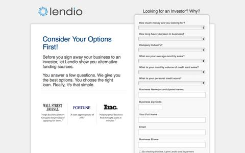 Screenshot of Landing Page lendio.com - Find Investors - captured Oct. 27, 2014