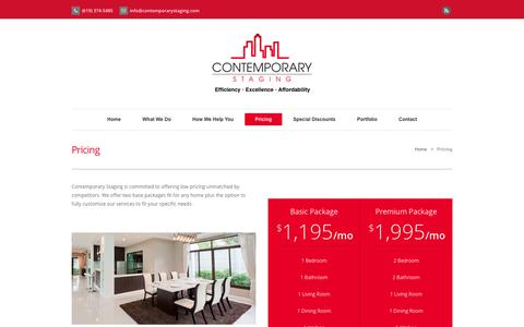 Screenshot of Pricing Page contemporarystaging.com - Pricing - Contemporary Staging - captured Sept. 30, 2014