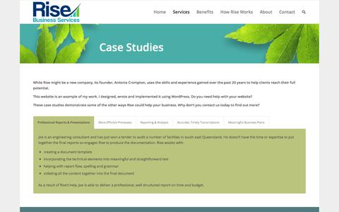 Screenshot of Case Studies Page risebusiness.com.au - Case Studies | Rise Business Services - captured Oct. 9, 2014