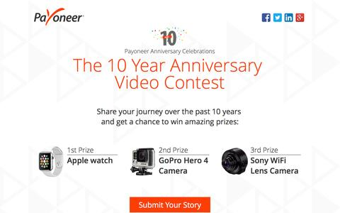 Screenshot of Landing Page payoneer.com - 10 year Payoneer Video Contest - captured Feb. 14, 2016
