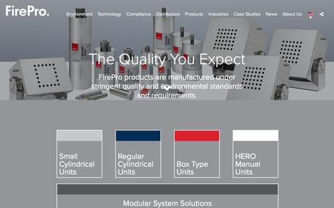 Screenshot of Products Page firepro.com - FirePro  - Product Range - captured May 1, 2017