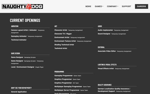 Screenshot of Jobs Page naughtydog.com - Naughty Dog   Naughty Dog - captured Sept. 21, 2018
