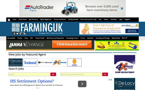 Screenshot of Jobs Page farminguk.com - Farming Job Vacancies in the UK | Agricultural jobs in UK - captured Aug. 3, 2015