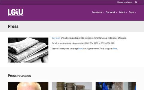 Screenshot of Press Page lgiu.org.uk - Press   LGIU: Local Government Information Unit - captured Sept. 25, 2018