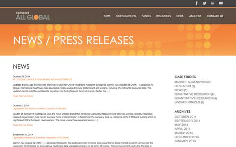 Screenshot of Press Page allglobal.com - News Archives - Lightspeed AG - captured Oct. 29, 2014
