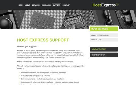 Screenshot of Support Page hostexpress.com.au - Host Express   Contact - captured Nov. 29, 2016