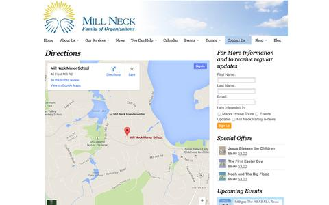 Screenshot of Maps & Directions Page millneck.org - Directions | Mill Neck Family of Organizations - captured Oct. 6, 2014