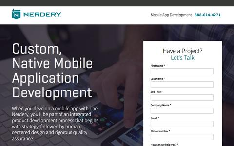 Screenshot of Landing Page nerdery.com - Mobile App Development | The Nerdery | Nerdery - captured Feb. 27, 2017