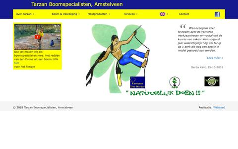 Screenshot of Home Page tarzan.eu - Tarzan boomverzorging - captured Oct. 28, 2018