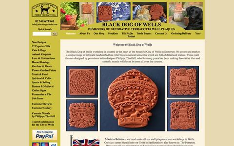 Screenshot of Home Page blackdogofwells.com - Unique range handmade terracotta wall decor - Black Dog of Wells - captured Jan. 27, 2015