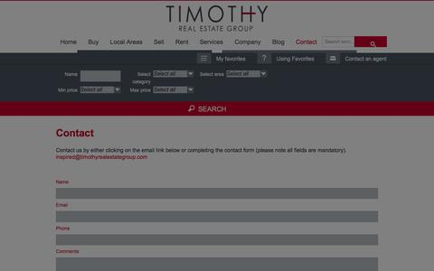 Screenshot of Contact Page timothyrealestategroup.com - Contact - Timothy Real Estate GroupTimothy Real Estate Group - captured Jan. 13, 2016