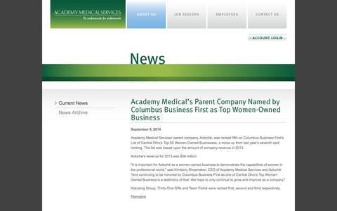Screenshot of Press Page academy-medical.com - News | Academy Medical Services - captured Oct. 4, 2014