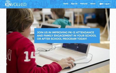 Screenshot of Signup Page kinvolved.com - Kinvolved Educational Attendance Software - captured Sept. 30, 2014