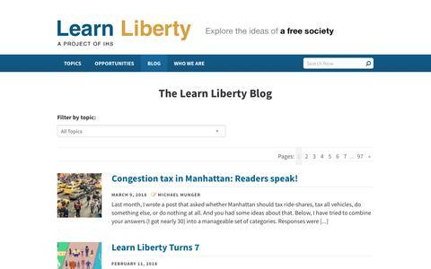 Screenshot of Blog learnliberty.org - Learn Liberty | Blog Posts - captured Dec. 8, 2018
