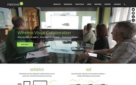 Screenshot of Home Page mersive.com - Display and Collaboration Software for Conference Rooms and Classrooms | Mersive - Software to Create your Pixel Landscape - captured June 16, 2015