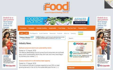 Screenshot of Press Page foodprocessing.com.au - Industry News  :: FoodProcessing - captured Aug. 19, 2018