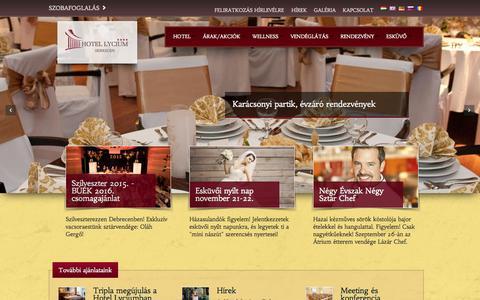 Screenshot of Home Page hotellycium.hu - Szállodánkról - captured Sept. 3, 2015