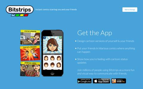 Screenshot of Home Page bitstrips.com - Bitstrips - Comics starring YOU and your Friends - captured July 17, 2014