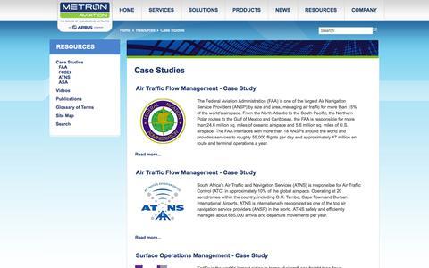 Screenshot of Case Studies Page metronaviation.com - Metron Aviation - Case Studies - captured Oct. 27, 2014