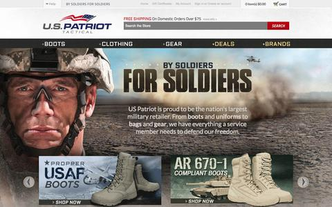Screenshot of Home Page uspatriottactical.com - US Patriot | Military Boots | Army and Air Force Uniforms | Nike | Rocky | Belleville - captured Sept. 23, 2014