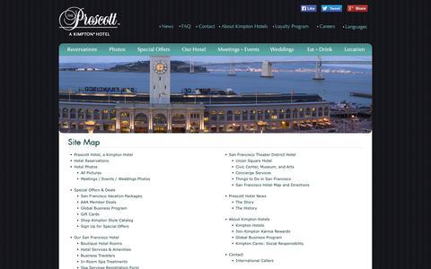 Screenshot of Site Map Page prescotthotel.com - Union Square Hotels | Prescott Hotel San Francisco | Sitemap - captured Oct. 3, 2014