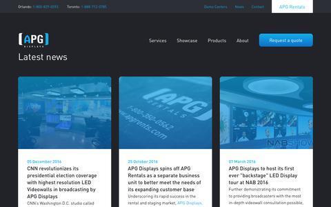 Screenshot of Press Page apgdisplays.com - News   Latest news & updates   APG Displays - captured Nov. 6, 2018