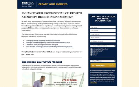 Screenshot of Landing Page umuc.edu - Online Master's in Management Degree   UMUC - captured Aug. 31, 2017