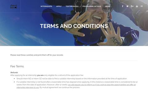 Screenshot of Terms Page internnzoz.com - Terms and Conditions - Intern NZ & Intern OZ - captured Oct. 15, 2017