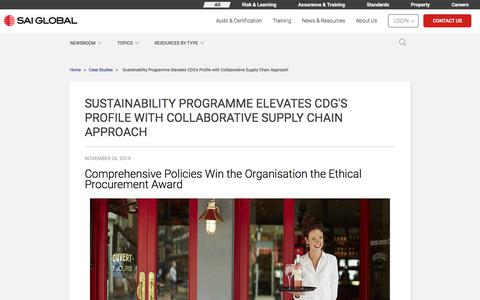 Screenshot of Case Studies Page saiassurance.com - Sustainability Programme Elevates CDG's Profile with Collaborative Supply Chain Approach - captured Dec. 12, 2019